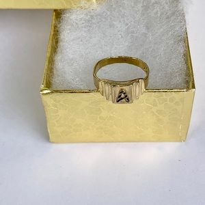 """SOLD 10k Solid Gold Ring Baby or Pinky Initial """"A"""""""